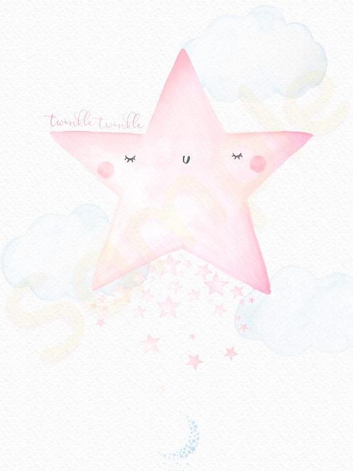 Downloadable Pink Star Nursery Print