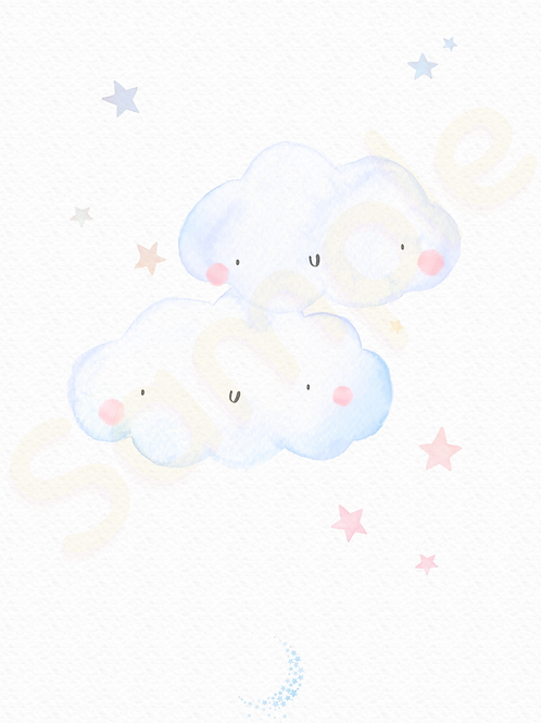 Downloadable Blue Clouds Nursery Print