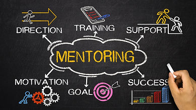 mentoring concept with business elements and related keywords on blackboard.jpg