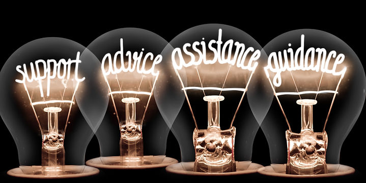 Photo of light bulbs group with shining fibers in a shape of SUPPORT, ADVICE, ASSISTANCE,