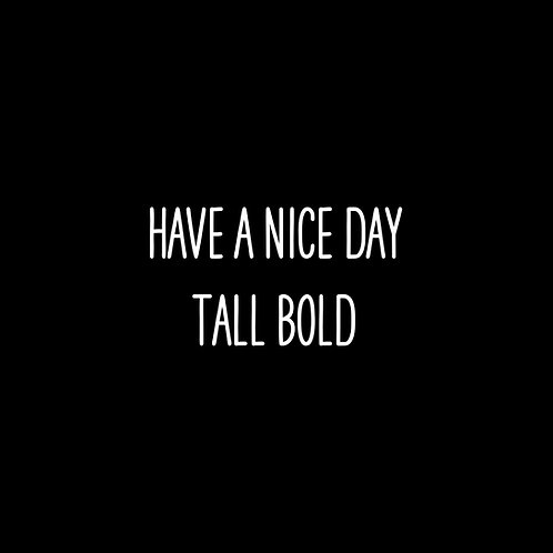 Have A Nice Day Tall Bold Font - 1 User