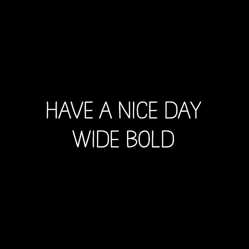 Have A Nice Day Wide Bold Font - 1 User