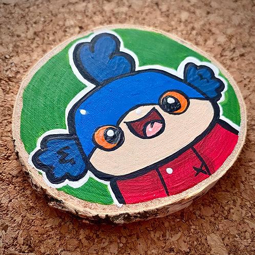 Mr. Wormy Painted Log slice