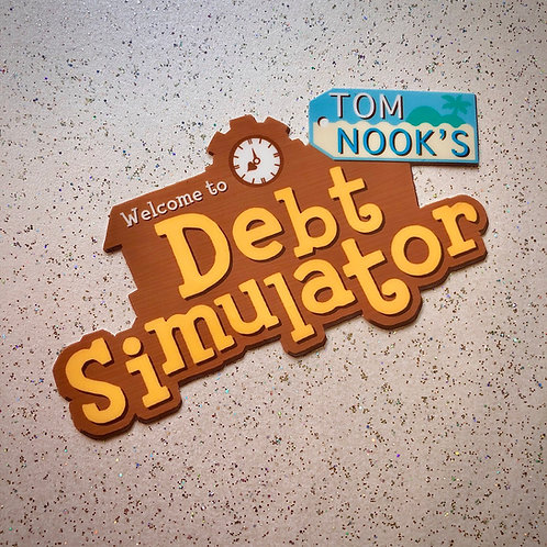 Debt simulator vinyl sticker
