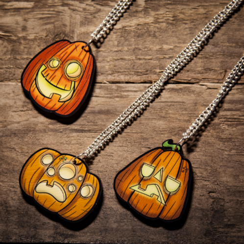 Jack-O Lantern Wooden Laser Cut Necklace (3 designs to choose from)