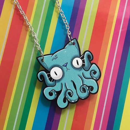 Octo-Puss Wooden Laser Cut Necklace