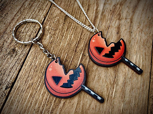 Sam's Lolly Horror Pop Wooden Laser Cut Charm (Necklace or Keyring)