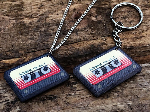 Awesome Mix Vol.1 Wooden Laser Cut Charm (Necklace or Keyring)