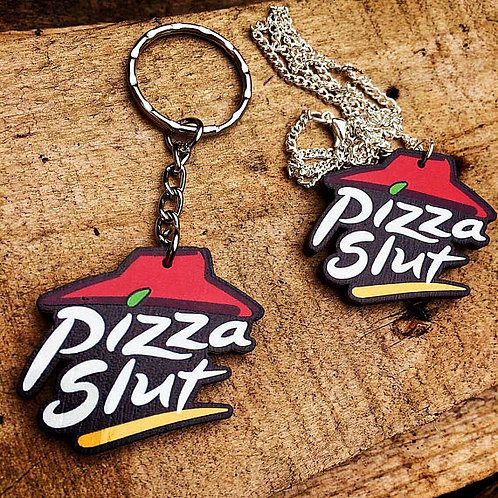 Pizza Slut Wooden LasercutCharm (Necklace or Keyring)