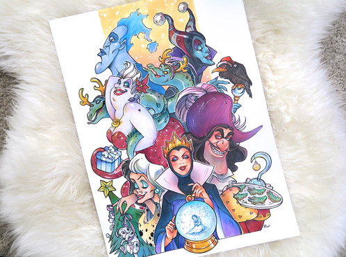 disney villains christmas copic marker illustration by marie sann