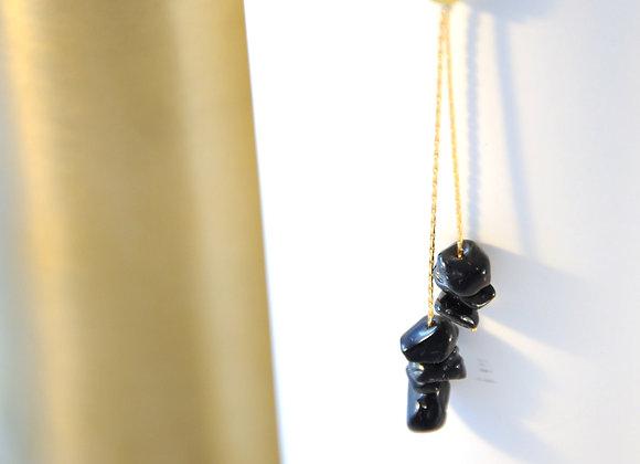 Sautoir Or & Obsidienne