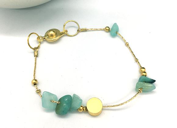 Bracelet souple Or & Amazonite