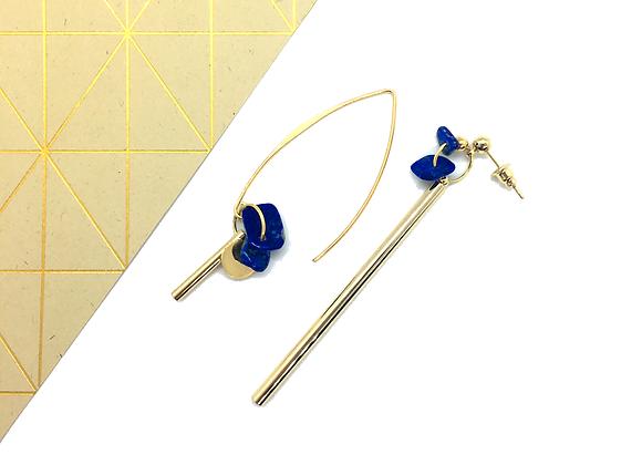Boucles d'oreilles asymétriques Or & Lapis Lazuli