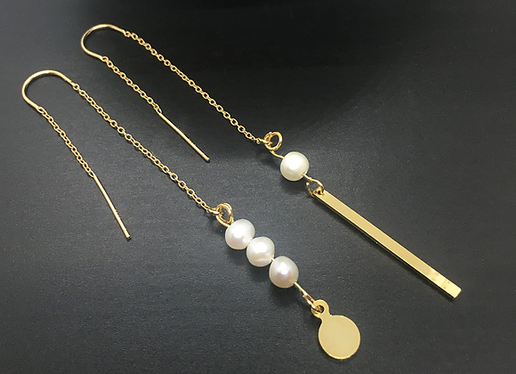 Boucles d'oreilles fil Or & Perles
