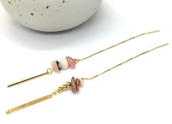 Boucles d'oreilles fil Or et Opale