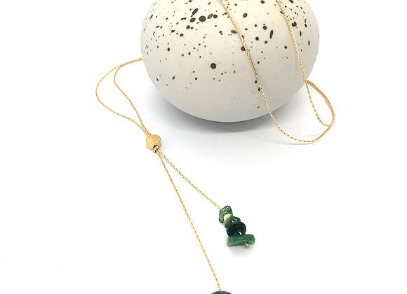 Sautoir or et jade