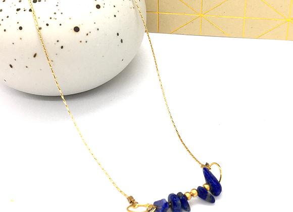 Collier court Or & Lapis Lazuli