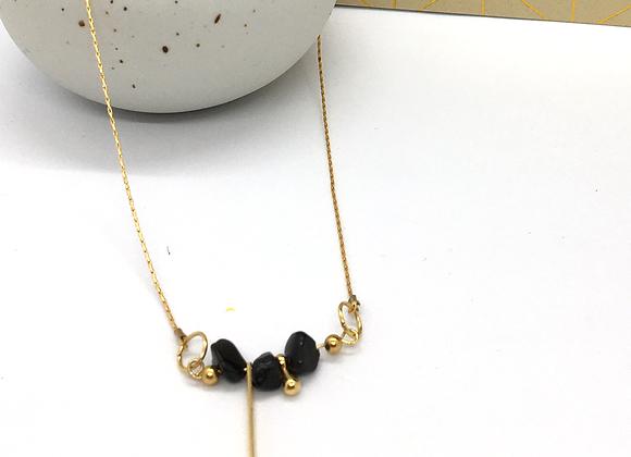 Collier ras de cou Or & Obsidienne