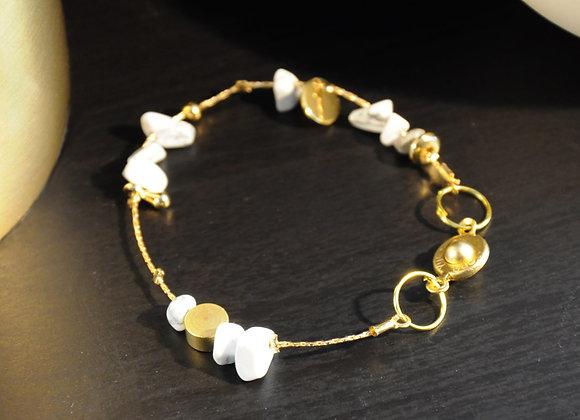Bracelet souple or & Howlite