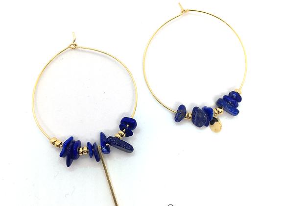 Créoles or plaqué et pierres de Lapis Lazuli