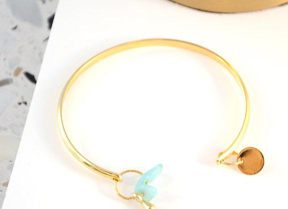 Bracelet esclave Or et Amazonite