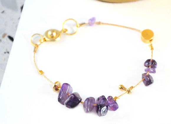 Bracelet souple Or & Améthyste