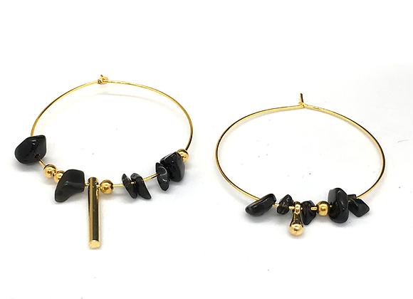 Créoles asymétriques Or & Obsidienne
