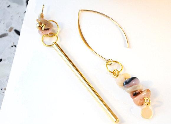 Boucles d'oreilles Or & Opale