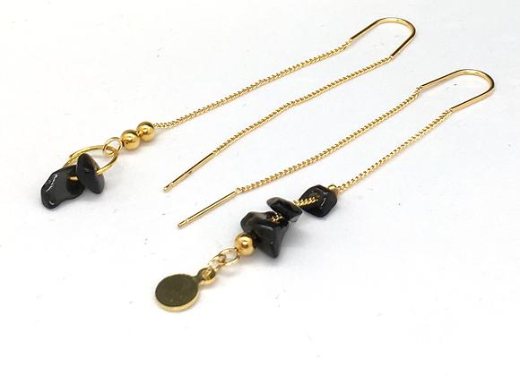 Boucles d'oreilles fil Or & Obsidienne