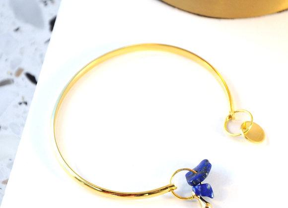 Bracelet esclave Or et Lapis Lazuli