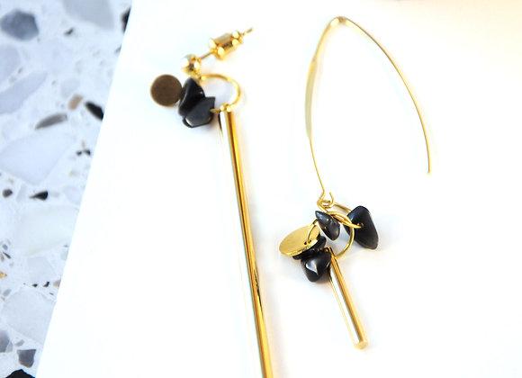 Boucles d'oreilles Or & Obsidienne