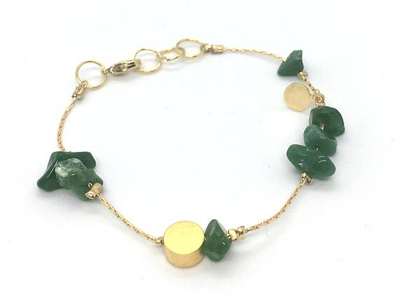 Bracelet souple Or et Jade