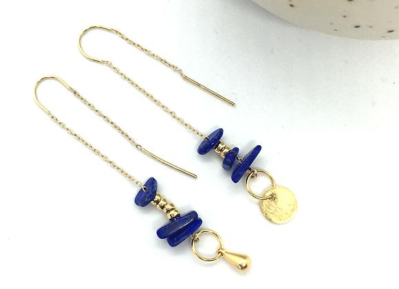 Boucles d'oreille fil Or & Lapis Lazuli