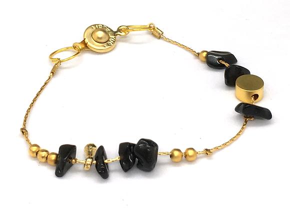 Bracelet souple Or & Obsidienne