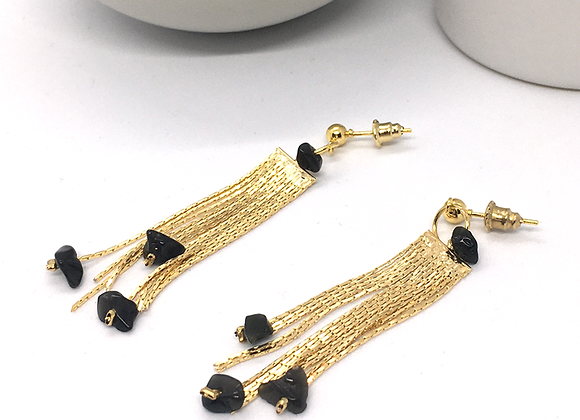 Boucles d'oreille 80's or & obsidienne