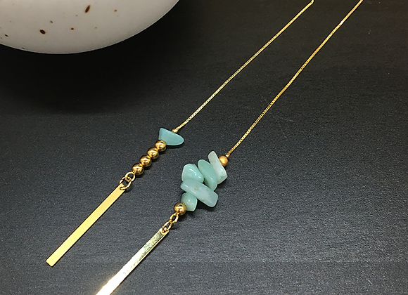 Boucles d'oreilles fil Or & Amazonite