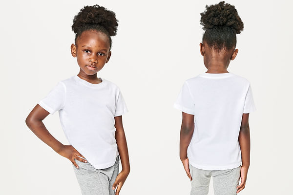 Girl's casual in white tee front and bac