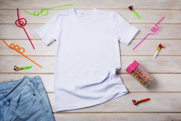 White kids cotton T-shirt mockup with dr
