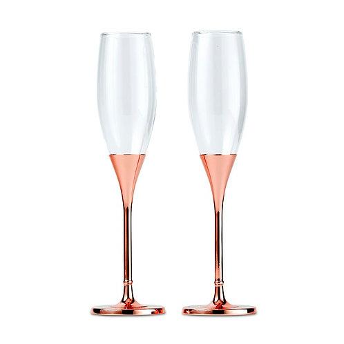 Rose Gold Champagne Flutes Set