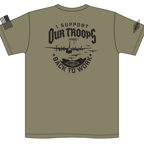 I Support Our Troops - Green - Back - Mike Patey Tee-Shirt