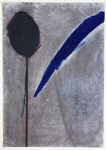 Head on Pole with Blue Feather