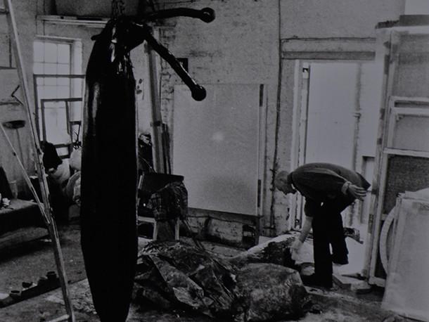 Tarring and Feathering of Slug Fetish, performance Dillwyn Smith's Studio, West Hampstead