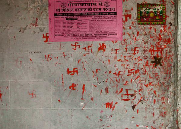 Swastik and handprints Hanuman Temple Rajastahn