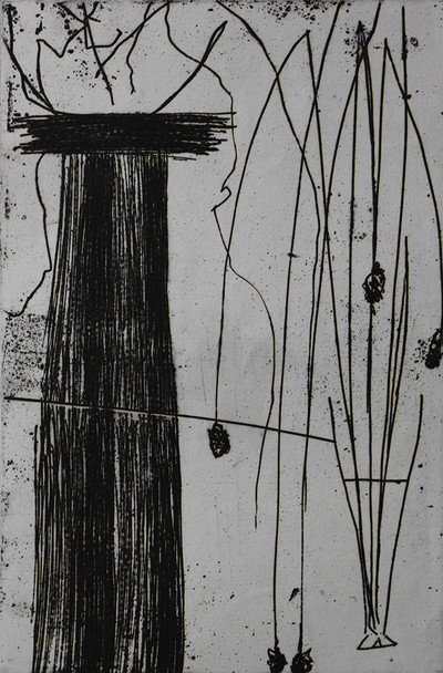 red grass etching monochrome version