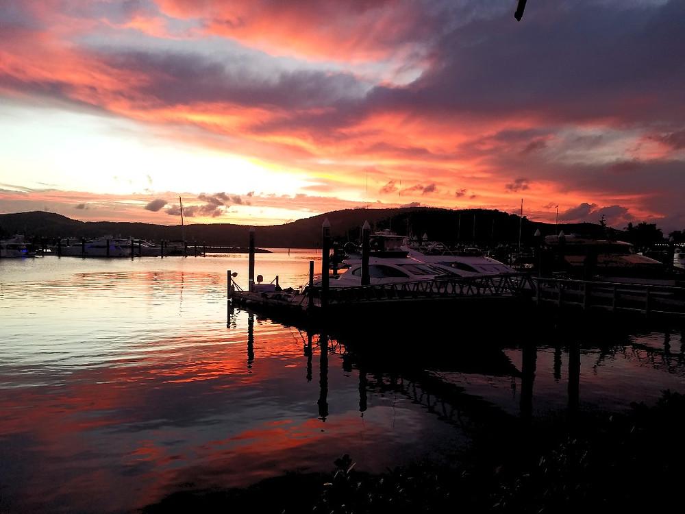 Sunset over Hamilton Island Marina