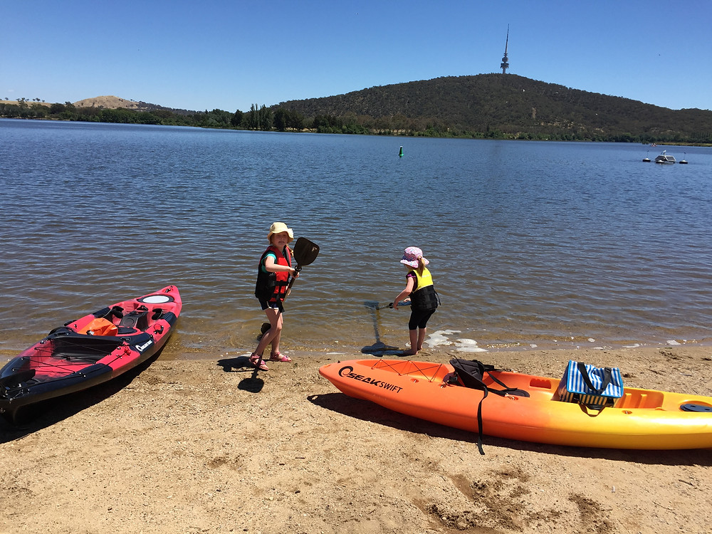 Kayaking on Lake Burley Griffin Canberra