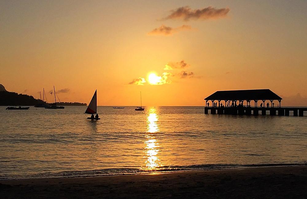 Hanalei Bay Kauai sunset