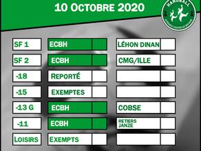 Matchs du 10 octobre 2020