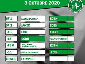 Matchs du 3 octobre 2020