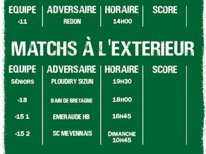Matchs du 14 mars